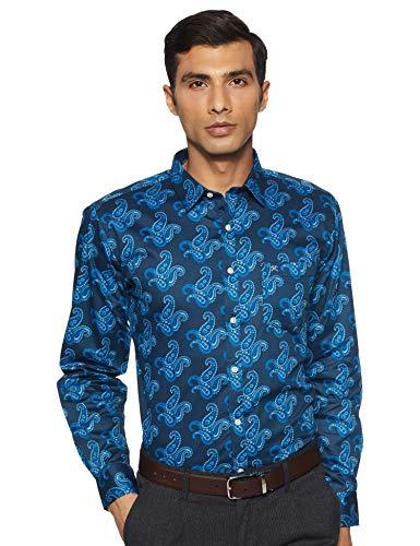 Hammersmith Men's Printed Regular Fit Formal Shirt (1108-aa_Oxford Blue_Small)