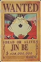 海賊アニメJIN BEジンビー さびた錫のサインヴィンテージアルミニウムプラークアートポスター装飾面白い鉄の絵の個性安全標識警告バースクールカフェガレージの寝室に適しています