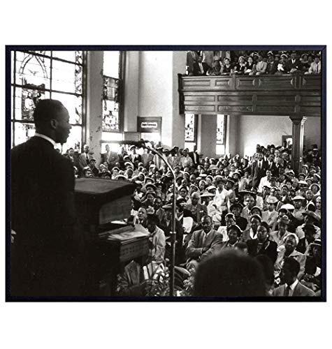 Martin Luther King in Church - MLK Wall Art - African American Wall Art - Black History Decor - Civil Rights Movement Photo - Religious Christian Gifts for Men, Women - Vintage Historic Photos Wall