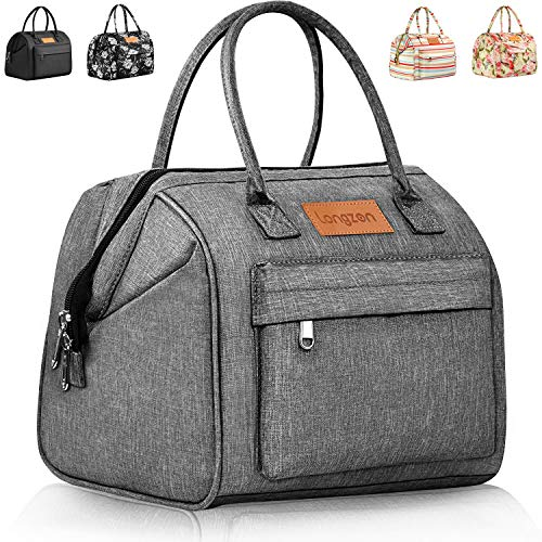 Lunch Bags for Women, longzon gifts for women, portable insulated adult girls large cute lunch box, lunch tote, work gifts for coworker, loncheras para comida adultos mujer, bolsos de mujer-Grey