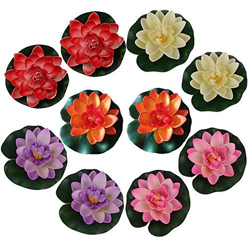 10 pezzi di Romantic Floating Flower, impermeabile Fiore di loto per gli amanti e bambini, applica a Wedding Day Acquari decorazione di San Valentino