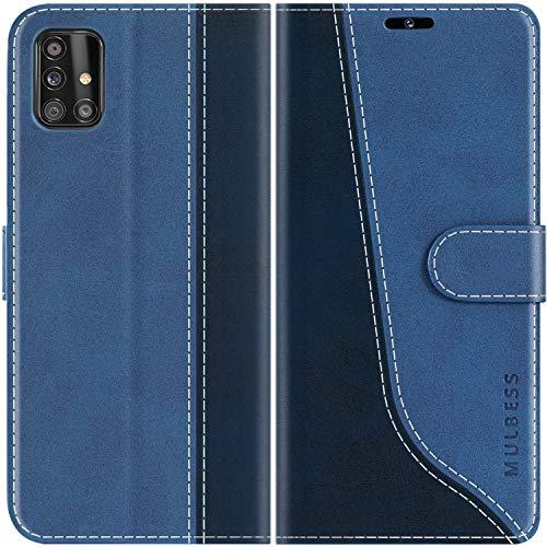 Mulbess Handyhülle für Samsung Galaxy A51 Hülle, Handy Samsung A51 Hülle, Leder Flip Etui Handytasche Schutzhülle für Samsung Galaxy A51 4G Hülle, Diamant Blau