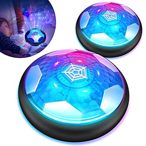 Sillbird Hover Soccer Ball Set of 2, Rechargeable Air Power Football with LED Starlight and Soft Foam Bumpers Kids Gifts Toys for 3+ Year Old Boys Girls Indoor Outdoor Sport Games
