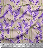 Soimoi Rosa Baumwoll-Voile Stoff Blätter & Lavendel