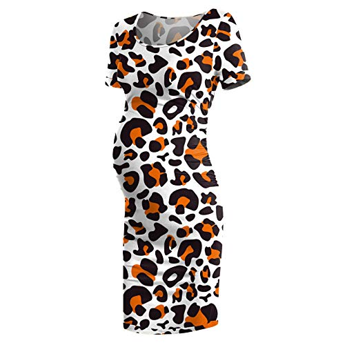 TYTUOO Vestidos de maternidad de moda de verano floral de manga corta cuello redondo vestido lateral fruncido ropa de embarazo para las mujeres