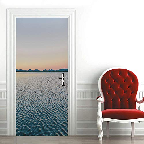 3D Mural para Puerta 77X200Cm Autoadhesivo Impermeable Papel Pintado Puerta para Sala de Estar Baño Extraíble Vinilo Adhesivo de Pared,DIY Decoración del Hogar - Lago Espumoso