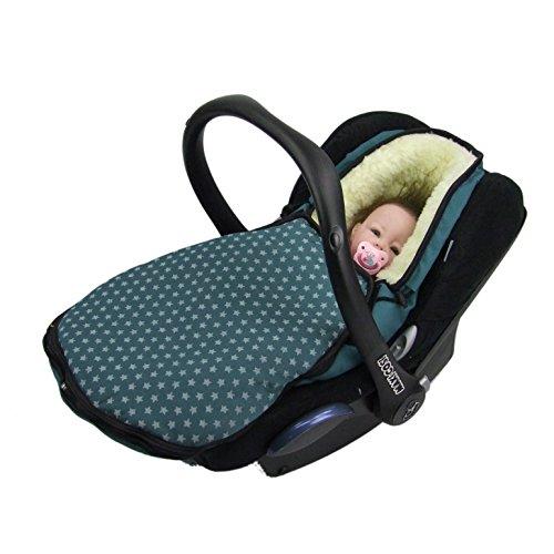 BAMBINIWELT Winterfußsack für Babyschale kompatibel mit MAXI-COSI Cabrio Fix, Pebble, Citi mit WOLLE STERNE (STERNE olivegrün WOLLE) XX