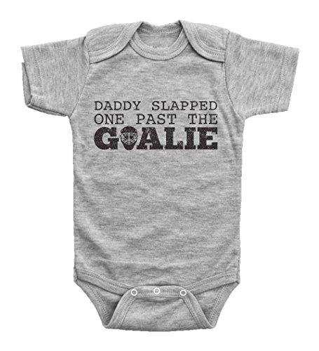Baffle Daddy Slapped One Past The Goalie/Funny Hockey Onesie Outfits Unisex Baby (6mo, Grey Short Sleeve)