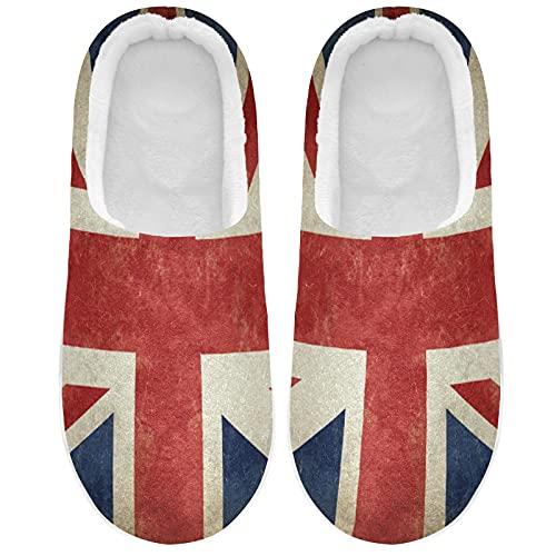 Linomo Vintage UK Flag Union Jack English England Slippers for Women, Womens House Slippers Indoor Slipper Socks House Shoes Bedroom Shoe