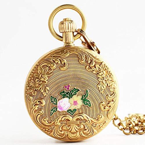 SMSOM Reloj de Bolsillo Vintage Números Romanos Escala para Mujer Reloj mecánico para Mujer con Cadena Navidad Graduación Regalos de cumpleaños Día de los Padres