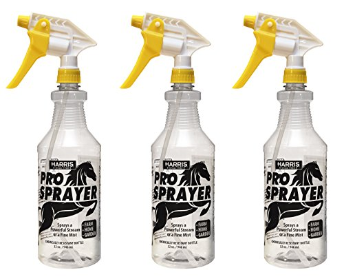 HARRIS Professional Spray Bottle for Horses 32oz (3-Pack), All-Purpose Chemically Resistant with Clear Finish, High Output Pressurized Sprayer, Adjustable Nozzle and Measurements