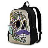 huobeibei Mexican Skull Backpacks Camping Woman Large Backpack Funny Polyester Bags 17Inches 5