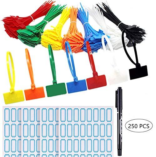 Ataduras de cables,250 paquetes Colores Variados Etiquetas De Cable Autoblocantes Con Rotulador para el taller de Garaje de la Oficina en Casa 3 × 150 MM(7 colores)