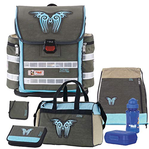 CHIP Khaki - McNeill Ergo Light 800 Plus Schulranzen-Set 7tlg. mit Sporttasche, BROTDOSE und TRINKFLASCHE