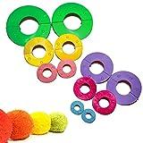 Kit Hacer Pompones 12 Piezas Plástico con Tamaños Variados por Curtzy - Maquinas de Pompones de 9, 7, 5,5, 4,5, 3,5 Y 2,5cm - Pompones para Decoraciones, Guirnaldas, Colgantes y Mas - Reusable