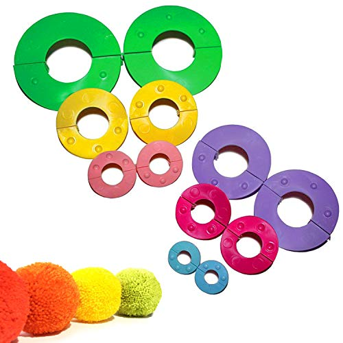 Curtzy 12-TLG. Kunststoff Pom-Pom Maker Herstellungs-Set für Pompoms Bommel-Machen - Fluff Kugel Weber DIY Handwerk Puppe Making Kits -Wool Garn Knitting Handwerk Werkzeug Set für Dekorationen