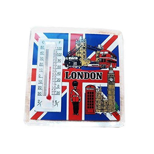 London Thermometer-Magnet, London-Symbole auf Union Jack-Hintergrund, klassischer, langlebiger Acryl-Magnet, Sammler-Magnet/Thermometer.