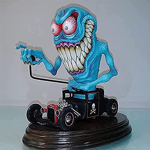Angry Big Mouth Monster Estatua, Scary Monster Halloween Decoraciones Figuras, Rat Alien ZombieHandmade Monster Resina Crafts Escultura Decoración para el hogar Adorno (B)