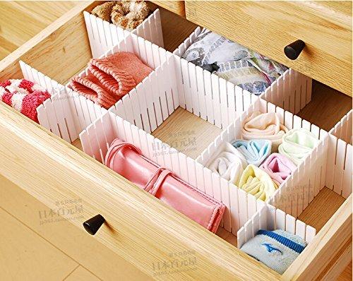 Duroetui Adjustable Plastic Drawer Closet Grid Divider Tidy Organizer Container Home Storage (45cm X 7cm ( 18 X 2-3/4 ), White)