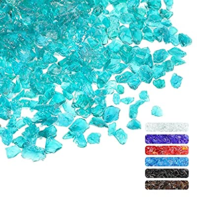 1.5 LB Glass Gravel Stone 3-6 mm Glitter Gravel Stone Luster Reflective Tempered Fire Glass Crushed Glass for Fire Pit Crafts Vase Fish Bowl Garden Decor (Turquoise) from Patelai