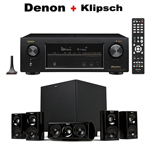 Denon AVR-X1400H 7.2 Channel Full 4K Ultra HD AV Receiver + Klipsch HDT-600 Home Theater System Bundle