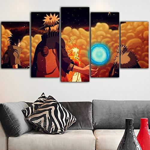 HUAYEXI 5 pinturas en lienzo arte de pared modular Naruto decoración decoración regalo hogar oficina decoraciones