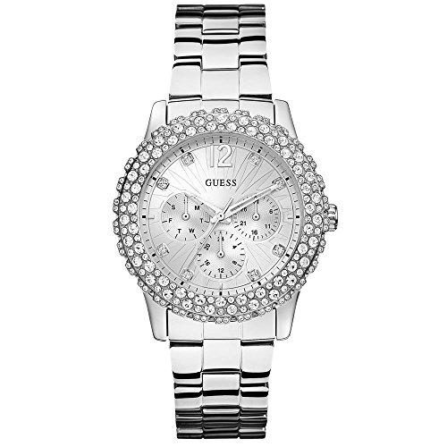 GUESS W0335L1 Vrouwen Zilver-Toon Multi-Functie Horloge met Kristal Accenten