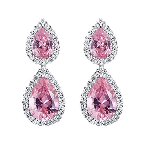 Pendientes de Mujer - Clearine Aretes Forma de Lágrima Gota de Agua, Zirconia Estilo Precioso para Boda Novia Fiesta Rosa