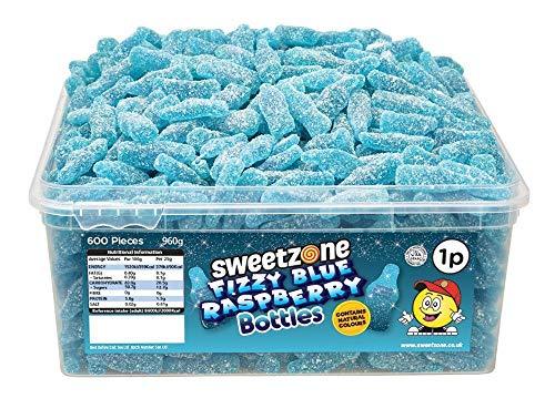 SweetZone 100{1c8f5c85ca45654d795337732846cceaefd5c8334256965150b3aafc89156abd} Halal Fizzy Blue Raspberry Bottles Candy ohne Schweinegelatine 1kg