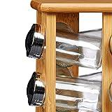 Relaxdays Gewürzständer aus Bambus mit 16 Gewürzgläsern HBT ca. 30 x 19,5 x 19,5 cm stehendes Gewürzregal mit Gewürz-Behältern als Gewürzkarussell mit Einsatz zum Streuen von Gewürzen, natur - 7