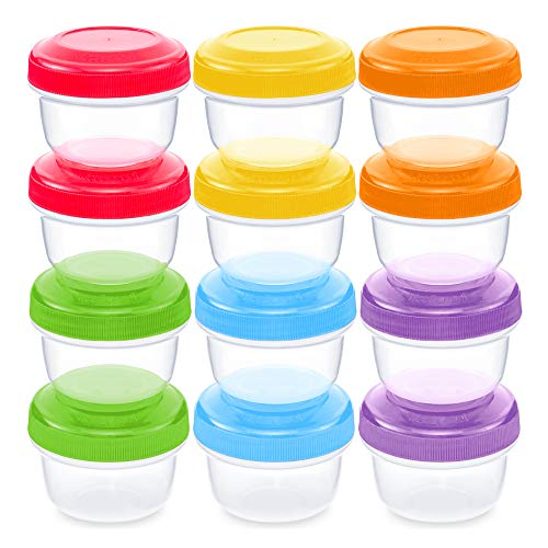 WEESPROUT Leakproof Baby Food Storage | 12 Container Set | BPA Free Small Plastic Containers with Lids | Lock in Freshness, Nutrients, Flavor | Freezer & Dishwasher Friendly | 4oz Snack Container