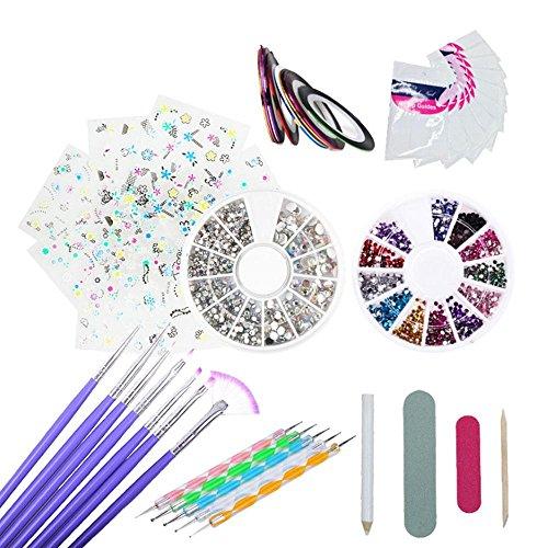 inceles para Uñas,Kit de herramientas para manicura de uñas, pinceles para pintar uñas, pinceles de punto, uñas de estrás, decoración de pegatina, cinta adhesiva para pedicura,48 unidades