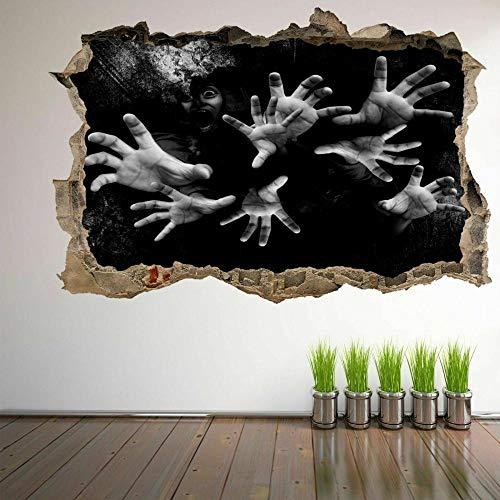 Pegatinas de pared Scary Hands Halloween 3D Wall Art Sticker Mural Decal Horror Fondo-70x100cm