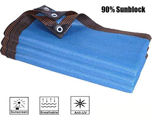 XYLUCKY 90% Blaue Schatten Tuch Sun Net, Super Dense UV-beständig Shade Mesh-Gewebe mit Tüllen für Garten, Pflanzen Cover, Pferdeboxen, Carport,3x6m/9x19ft
