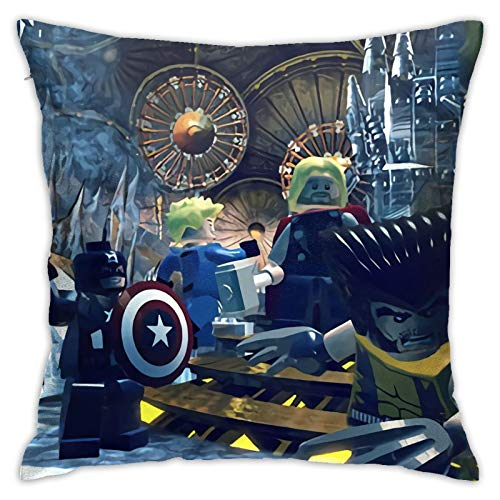 Superheroes-Marvel - Fundas de cojín suaves de poliéster con cremallera, funda de almohada decorativa para dormitorio, sofá, jardín, 45,72 x 45,72 cm