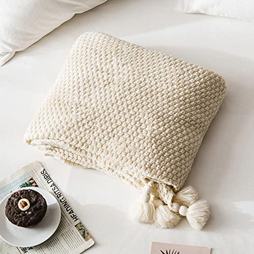 MYLUNE HOME Handgemachte Boho Strickdecke, Kuscheldecken für Sofa / Bett & als Zudecke, 127x152cm, Beige