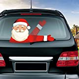 MIYSNEIRN Rear Wiper Decal Christmas Santa Claus Beckoning Waving Wiper Decals for Rear Window,Waterproof Rear Windshield Wiper Decal,Attaches to Back Wiper Blade Decal Tags for Vehicles Decoration Christmas Holiday