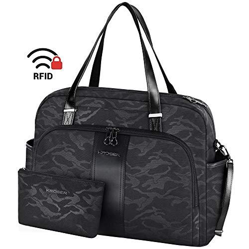 KROSER 15,6-inch laptoptas Dames Draagtassen Boodschappentas Mode Schoudertas Grote draagtas met RFID-zak voor school/reizen/kantoor/werk - Camouflage zwart