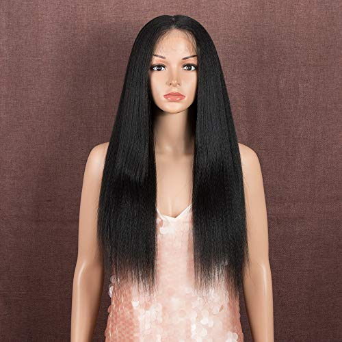 Style Icon Lace Front Wig 24 Inches YAKI Straight 4x4 Lace Simulated Scalp...