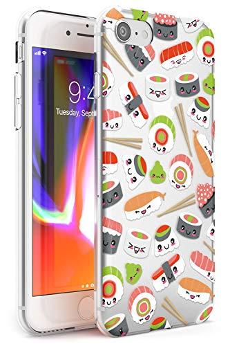 Case Warehouse Patrón de Sushi de Kawaii Mix Slim Funda para iPhone 7 Plus TPU Protector Ligero Phone Protectora con Claro Japonés Comida JDM Dibujos Animados