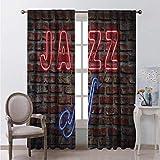 Toopeek - Cortina de aislamiento térmico con imagen de neón seductor, con instrumentos de saxofón en ladrillo, impresión de pared para sala de estar o dormitorio, 163 x 172 cm, color rojo y azul