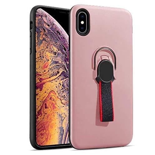 Coque iPhone Xs max Silicone Ultra Mince Solide TPU Coquille Transparente avec Plaque Support de téléphone de Voiture magnétique (rose)