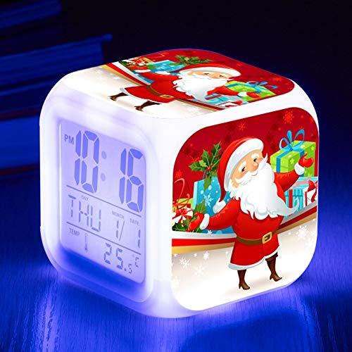 Yyoutop Reloj Despertador LED de Navidad de Papá Noel, Reloj Despertador con luz Intermitente para niños, Reloj Despertador multifunción, Verde Militar