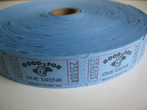 2000 Blue Good For One Drink Single Roll Consecutively Numbered Raffle Tickets