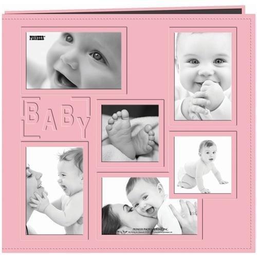 Pioneer Carnet de souvenirs en similicuir cousu Motif bébé Rose bébé 30,5 x 30,5 cm