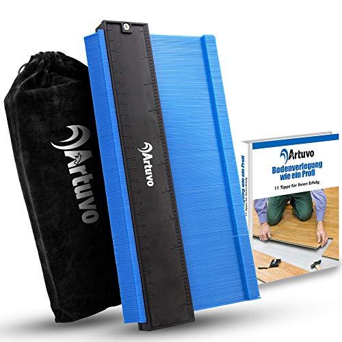 Artuvo® Konturenlehre groß - Premium Laminat Werkzeug inkl. Schutzbeutel - Meisterhaftes Abtasten und Übertragen mit der Konturlehre - Gratis eBook zur Bodenverlegung - Erspart Zeit und Ärger