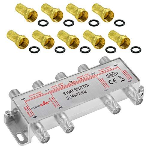 Poppstar - Répartiteur coupleur dantenne 8 Sorties, Fiche F inclue (analogique/numérique/large-bande/unicable/HD/4K Compatible) pour TV,Antenne TNT,Satellite,Câble,TV,Radio,LNB - 100dB, 5-2450 MHz