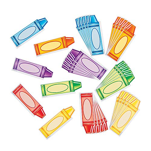 Fun Express Crayon Mini Cutouts - 36 Pieces - Educational and Learning Activities for Kids