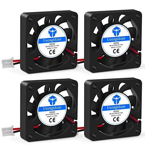 Usongshine Lüfter 3D Drucker Lüfter Lager Kühler Kühlung Ventilator 5V DC 2 Pin, 40 x 40 x 10 mm 3D Druckerzubehör (4 Stück mit Schrauben)