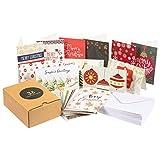 Pack de 36 Tarjetas de Felicitaciones de Navidad con sobres